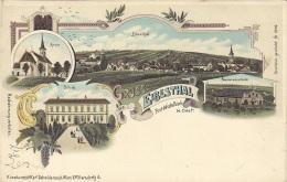 Litho Gruss Aus EIBESTHAL Post Mistelbach, Karte Um 1899, Verlag Schwidernoch Wien II, Auf Rückseite Klebespuren S.Scan - Otros