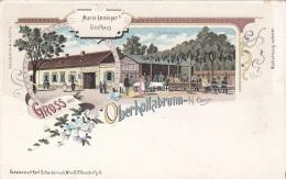 Litho Gruss Aus OBERHOLLABRUNN, Marie Emminger's Gasthaus, Karte Um 1899, Verlag Schwidernoch Wien II, Auf Rückse ... - Otros