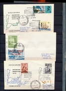 Argentina Antarctic Tourism 3 Covers Ships Birds Views Base Brown Cachet Cancel 2 Backstamp With Stamps 1957  A04s - Stamps