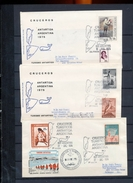 Argentina Antarctic Tourism 3 Covers  Birds Views Base Brown Cachet Cancel 2 Backstamp With Stamps 1975  A04s - Stamps