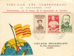 30 DECEMBRE 1949 - RECONNAISSANCE PAR LA FRANCE DE LA SOUVERAINETE DU VIET NAM - ENVOI AVEC 3 TIMBRES D'INDOCHINE-CACHET - France (ex-colonies & Protectorats)