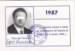 PALERMO - TESSERA AMAT PER TARIFFA RIDOTTA SE CON BIGLIETTO ENEL /  Azienda Mucipalizzata Autotrasporti _ 1987 - Abonnements Hebdomadaires & Mensuels