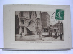 59 - LILLE -  ENTREE DU BOULEVARD CARNOT - ANIMEE - TRAMWAYS - 1911 - Lille