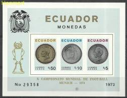 Ecuador 1973 Mi Bl62B MNH -  Pelicans 1974 West Germany FIFA World Cup Football Banknotes And Coins On Stamps  ( ZS3 ECD