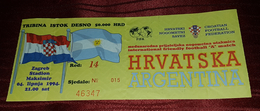 CROATIA- ARGENTINA 1994. FRIENDLY MATCH IN ZAGREB, RARE FOOTBALL MATCH TICKET, MARADONA - Tickets & Toegangskaarten
