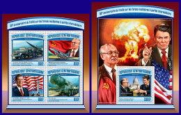 CENTRAL AFRICA 2017 ** Ronald Reagan Mikhail Gorbachev M/S+S/S - OFFICIAL ISSUE - DH1714 - Celebrità