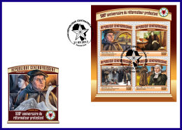 CENTRAL AFRICA 2017 FDC 500th Anniversary Of Reformation Martin Luther M/S - OFFICIAL ISSUE - DH1714 - Theologians