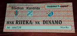 NK RIJEKA- NK DINAMO 2000. 1/4 CROATIAN FOOTBALL CUP, MATCH TICKET - Match Tickets
