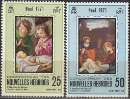 Nouvelles Hebrides 1971 Michel 313 - 314 Neuf ** Cote (2005) 1.90 Euro Noël Tableaux - Légende Française