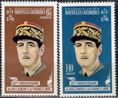 Nouvelles Hebrides 1970 Michel 293 - 294 Neuf ** Cote (2005) 3.30 Euro Président Charles De Gaulle - Légende Française