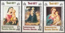 Nouvelles Hebrides 1977 Michel 502 - 504 Neuf ** Cote (2005) 2.20 Euro Noël Tableaux - Légende Française