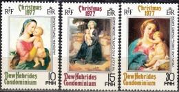 Nouvelles Hebrides 1977 Michel 499 - 501 Neuf ** Cote (2005) 2.00 Euro Noël Tableaux - Englische Legende