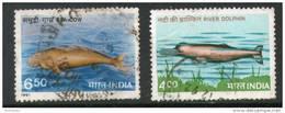India 1991 Endangered Marine Mammals Dolphin 2v Sc 1348-49 Used Set - Dolphins