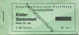 Schweiz - Sesselbahnen Lenk Betelberg - Haslerberg Skilift - Kinder-Abonnement - Leeres Fahrtenheft - Chemins De Fer