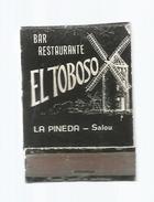 G-I-E, Tabac, Boites, Pochette D'ALLUMETTES, Publicité  , 2 Scans ,  Bar , Restaurante El Toboso , La Pineda , SALOU - Matchbox Labels