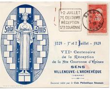 SENS - VILLENEUVE - L'ARCHEVEQUE. - . VIIE CENTENAIRE DE LA RECEPTION DE LA STE COURONNE D'EPINES - Christianity