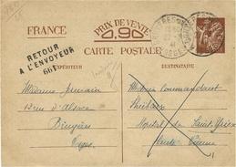 1941- C P E P Iris Sans Valeur De  Bruyères ( Vosges )  Pour  St-Yriex ( Hte Vienne ) Au Dos, INADMIS Et Retour 661 - Marcophilie (Lettres)