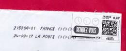 France - 2016- MONTIMBRENLIGNE -  Enveloppe DL - RENDEZ VOUS 24.03.17 - Cartas