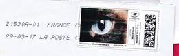 France - 2016- MONTIMBRENLIGNE -  Enveloppe C6  - OEIL DE CHAT CAT'S EYE - Cartas