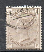 GB 1882: 4 D Grey-brown, Pl.18, Wmk. Crown, Used, 1 Short Tooth (top Row); S.G.160  Pl. 18   O - 1840-1901 (Victoria)