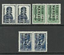 LITAUEN Lithuania 1941 German Occupation NEPRIKLAUSOMA Michel 3 & 5 - 6 In Pairs MNH - Litauen