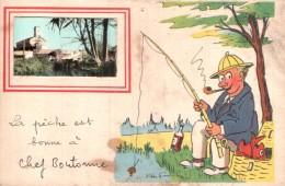 RARE  79 LA PECHE EST BONNE A CHEF BOUTONNE ILLUSTRATION ET VUE DU VILLAGE CIRCULEE 1958 - Chef Boutonne