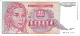YUGOSLAVIA 1000000000 DINARA 1993 P-126 XF  [ YU126 ] - Yugoslavia