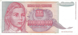 YUGOSLAVIA 1000000000 DINARA 1993 P-126 XF  [ YU126 ] - Jugoslawien