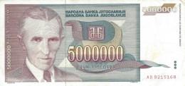 YUGOSLAVIA 5000000 DINARA 1993 P-121 VF/XF  [ YU121circ ] - Yugoslavia