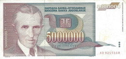YUGOSLAVIA 5000000 DINARA 1993 P-121 VF/XF  [ YU121circ ] - Joegoslavië