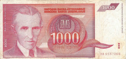 YUGOSLAVIA 1000 DINARA 1992 P-114 CIRC  [ YU114circ ] - Yugoslavia