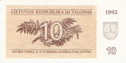LITUANIE   10 (Talonas)   1992   P. 40   UNC - Lithuania
