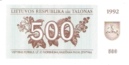 LITUANIE   500 (Talonas)   1992   P. 44   UNC - Lithuania