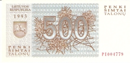 LITUANIE   500 Talonu   1993   P. 46   UNC - Lithuania