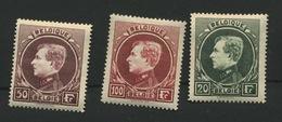 290-292 Roi Albert De Belgique  3 Val Malines ** Type Montenez Gravé  Coté  555 Euros Minimum  Les 3 Val - 1929-1941 Grand Montenez