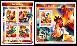 S. TOME & PRINCIPE 2017 - Year Of The Rooster. M/S + S/S. Official Issue - Astrologia
