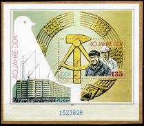 A01-03-10) DDR - Mi Block 100 = 3283 Auf Papier - OO Gestempelt (898) - 135Pf    40 Jahre DDR - [6] Oost-Duitsland