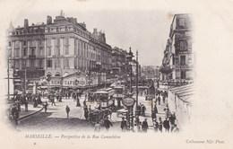 MARSEILLE - BOUCHES DU RHÔNE  - (13) - CPA PRÉCURSEUR ANIMÉE DE 1903 - CLICHE PEU COURANT.. - Canebière, Stadtzentrum