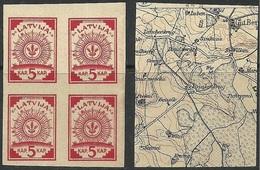 LATVIA Lettland 1918 Michel 1 In 4-Block MNH (no Gum) - Latvia