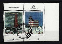 ALAND-INSELN Mi-Nr. 59 + 60 ZD Leuchttürme Gestempelt - Ålandinseln