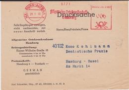 All Bes Brit Zone Freistempel Krankenkasse DS Hamburg Altona 1948 - American,British And Russian Zone