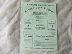 CIRQUE PINDER Jean Richard Publicité Bordeaux Avec Remise De 10 Francs - Publicités