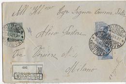 STORIA POSTALE REGNO - BUSTA RACCOMANDATA DA PIUBEGA (MN) (20.01.1921) A MILANO MICHETTI ISOLATO - Storia Postale