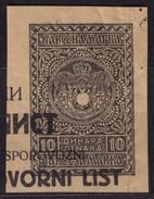 German Occupation 1941 Yugoslavia / Serbia - Transport WAYBILL Revenue Stamp CUT - 10 Din - Occupation 1938-45