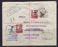 España 1939. Canarias. Carta De Las Palmas A Sevilla. Censura. - Marcas De Censura Nacional