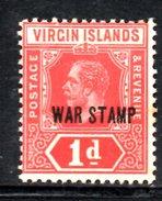 R1452 - BRITISH VIRGIN ISLANDS , 1 Penny Wmk Multi CA *  Soprastampa WAR STAMP - British Virgin Islands