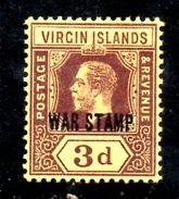 R1454 - BRITISH VIRGIN ISLANDS , 3 Penny Wmk Multi CA *  Soprastampa WAR STAMP - British Virgin Islands