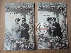 CARTE FANTAISIE Déclaration Amour Couple Homme Femme édition SIP 1832 Fleurs Roses Recto Glaçé - Saint-Valentin