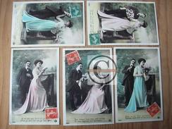 CARTE FANTAISIE Amour Couple Homme Femme 5 Cpa Edition PC ETOILE Série 4235 Fleurs Recto Glaçé - Saint-Valentin