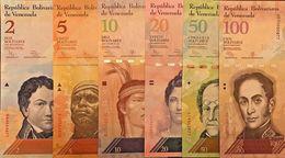 C) VENEZUELA, BOLIVARES 6 PCS SET 2,5,10,20,50,100 UNC NEW,  SET 2009 - 2013 - Venezuela